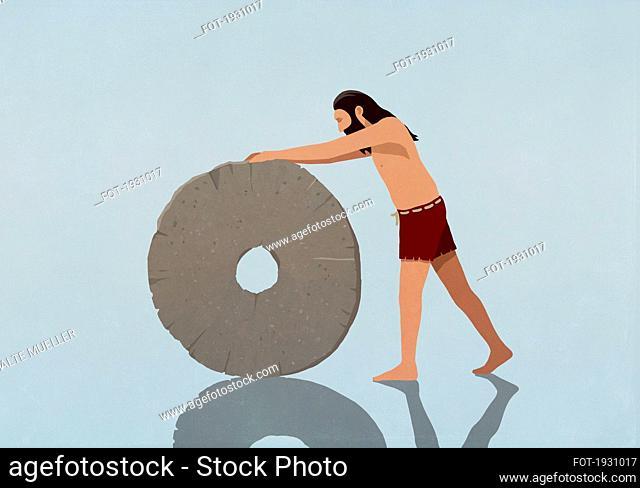Caveman rolling stone wheel