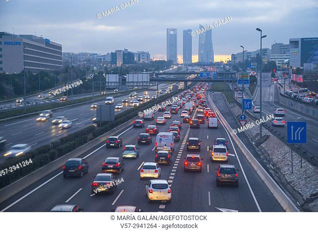 Traffic jam in A1 highway at evening. Sanchinarro, Madrid, Spain