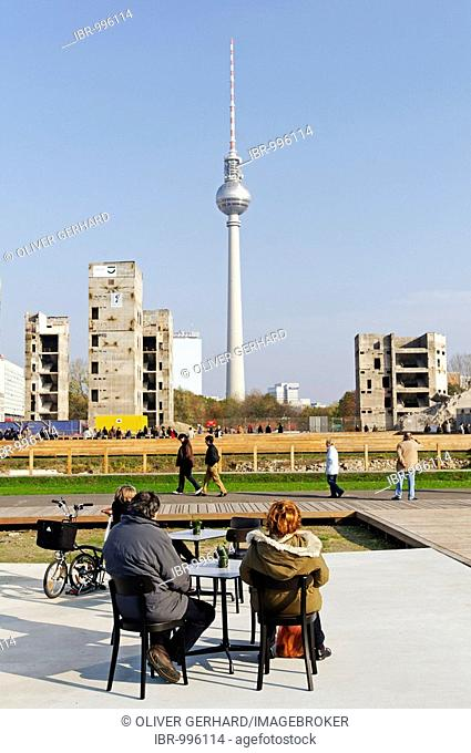Tourists looking toward the demolition debris of the Palast der Republik and Fernsehturm in Berlin-Mitte, Germany, Europe