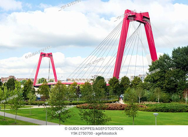 Rotterdam, Netherlands. The iconic Willemsbridge (Willemsbrug) connecting the city's north with Noordereiland (North Island)