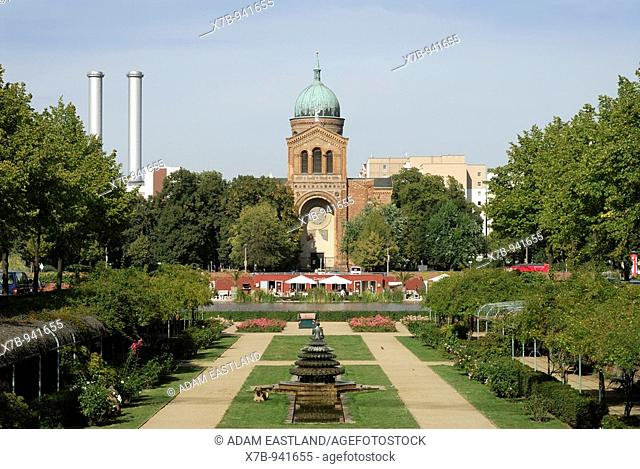 Berlin  Germany  Michaelskirche St Michaels Church and the landscaped former Luisenstädtische Canal