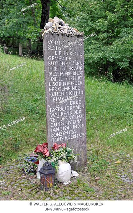 Stele at the entrance to the Jewish cemetery in Buttenhausen, Swabian Alps, Baden-Wuerttemberg, Germany, Europe
