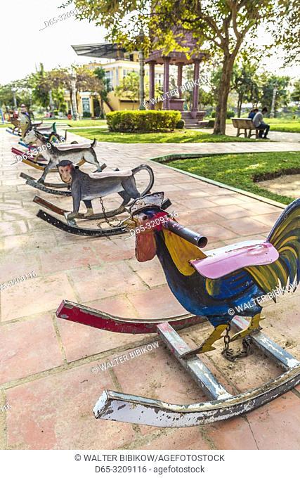 Cambodia, Battambang, childrens rocking horses painted with animal designs