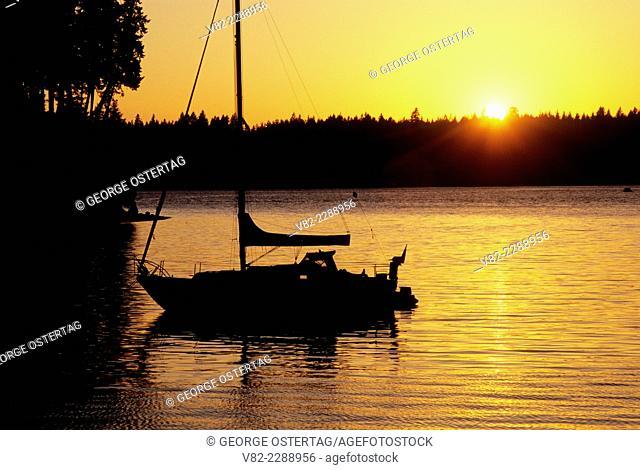 Sailboat sunset, Jarrell Cove State Park, Washington