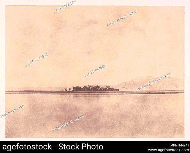 [The Nile in front of the Theban Hills]. Artist: John Beasley Greene (American, active France, 1832-1856); Date: 1853-54; Medium: Salted paper print from paper...