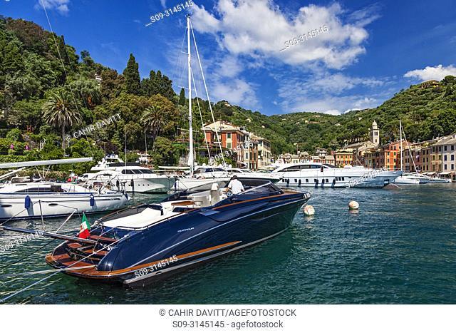 Luxury motorboat and yachts in Portofino Harbour and Marina, Portofino, Paraggi, Liguria, Italy