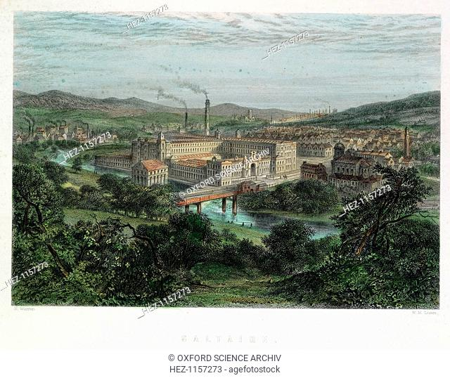 Saltaire, Yorkshire, 19th century. Saltaire was a model textile factory and town near Bradford,Yorkshire, founded by Titus Salt (1803-1876) in 1851