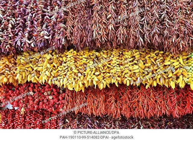 """16 November 2018, Portugal, Funchal: Chilli varieties are offered for sale in the Mercado dos Lavradores. The """"""""Mercado dos Lavradores"""""""" is a fruit, vegetable"""