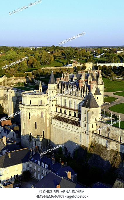 France, Indre et Loire, Loire valley listed as World Heritage by UNESCO, Amboise, the 15th century castle aerial view