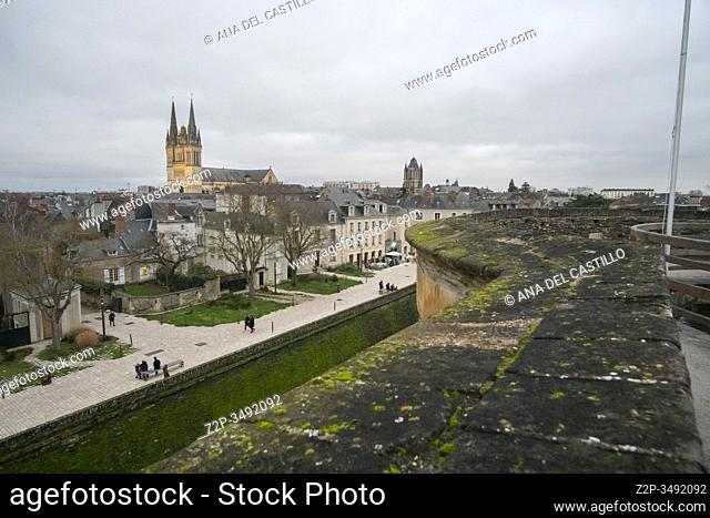 Angers Loire valley France on December 27, 2019. Panorama from the fortress by night