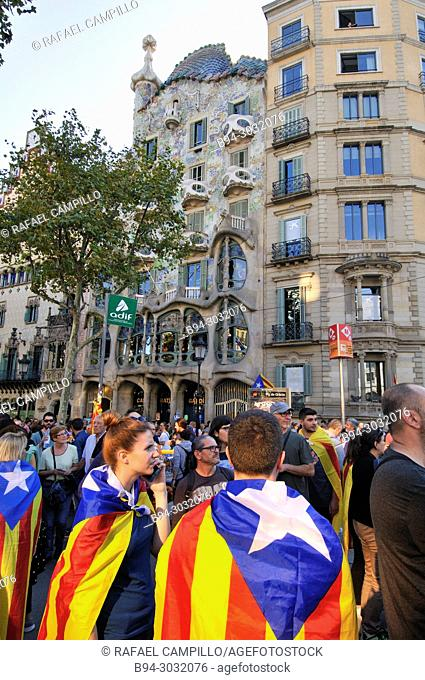 Political demonstration for the independence of Catalonia. Estelades. Independentist Catalan flags. October 2017. Barcelona, Catalonia, Spain