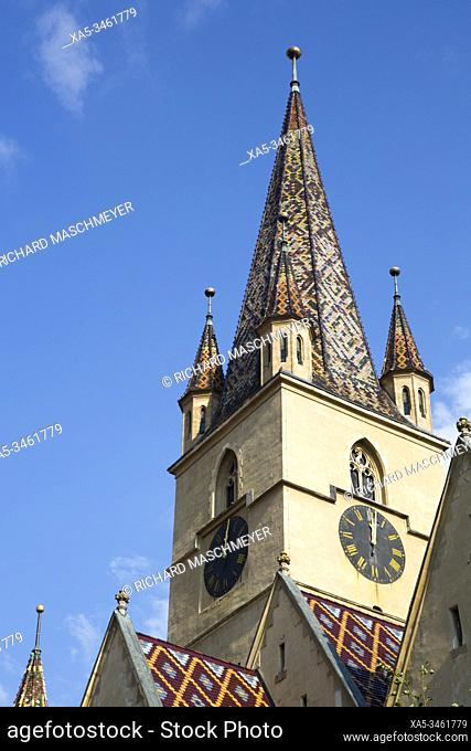 Clock Tower, Evangelical Cathedral, Founded 1320, Sibiu, Transylvania Region, Romania
