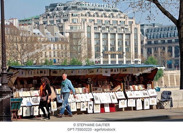 USED BOOKSELLER SET UP ON THE BANKS OF THE SEINE NEAR THE SAMARITAINE, QUAI CONTI, PARIS 75, ILE-DE-FRANCE, FRANCE