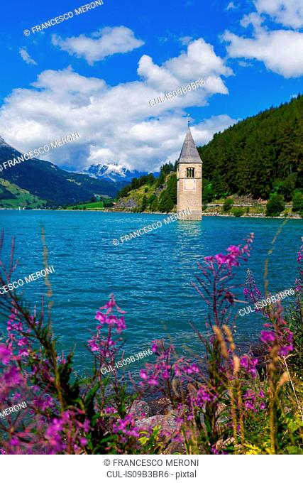 Submerged Curon church bell tower in lake, Vinschgau Valley, South Tyrol, Italy