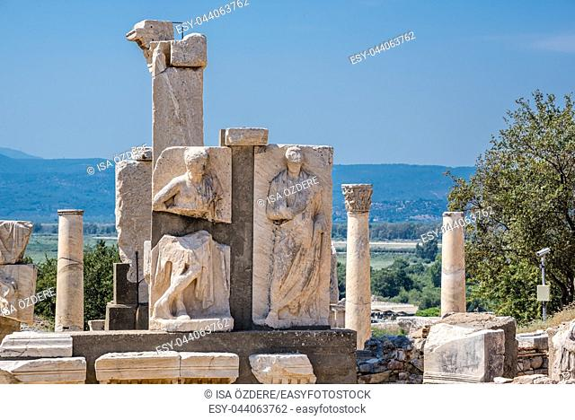 Memmius Monument at Ephesus historical ancient city, in Selcuk, Izmir, Turkey:20 August 2017