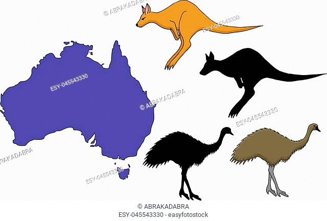 Australia cartoon travel map vector illustration on white background. Traditional symbols of nature and culture of Australia - kangaroo and ostrich