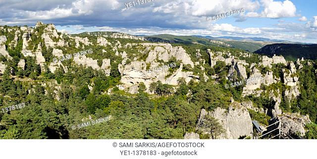 Tree covered rock formations of Chaos de Montpellier-le-Vieux, Aveyron, France