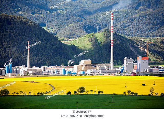 RUZOMBEROK, SLOVAKIA - MAY 9: Factory Mondi in town Ruzomberok on May 9, 2014 in Ruzomberok