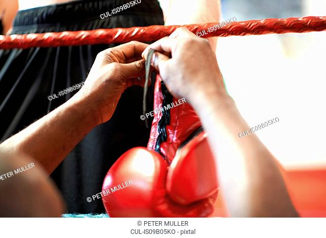 Coach helping boxer put on gloves, mid section