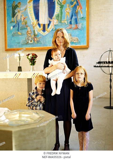 Family at christening Sweden