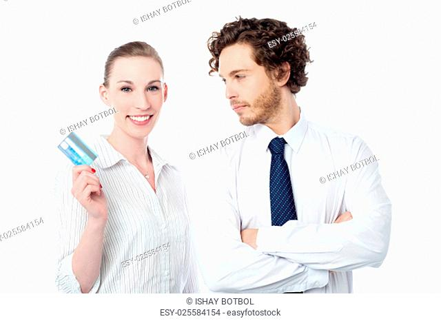 Female executive showing her new credit card