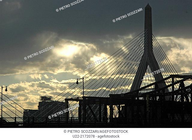 Boston, Massachusetts, U.S.A., stormy clouds by Zakim Bridge