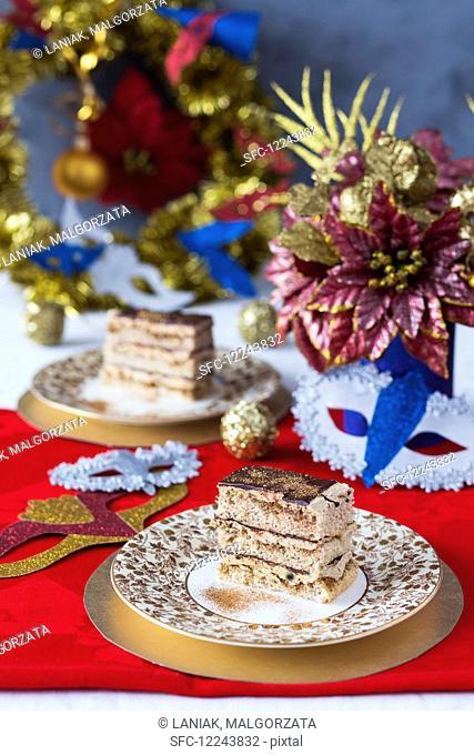 Festive Opera Cake with edible golden glitter