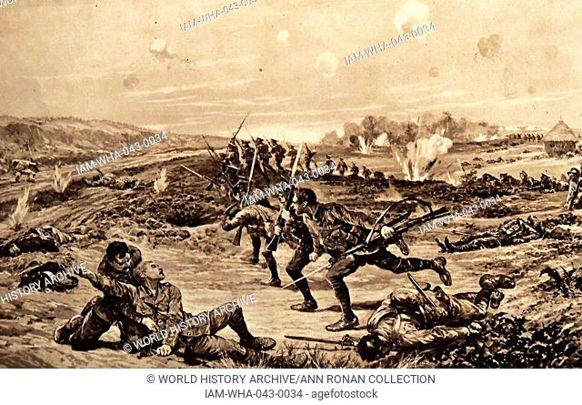 Illustration depicting Captain Vernon Haggard's (1874 - 1960), Welsh Regt, actions at Chivy-sur-Aisne. Dated 1914