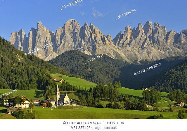 puez odle, val di funes , bolzano province, trentino alto adige, italy, unesco world heritage site,