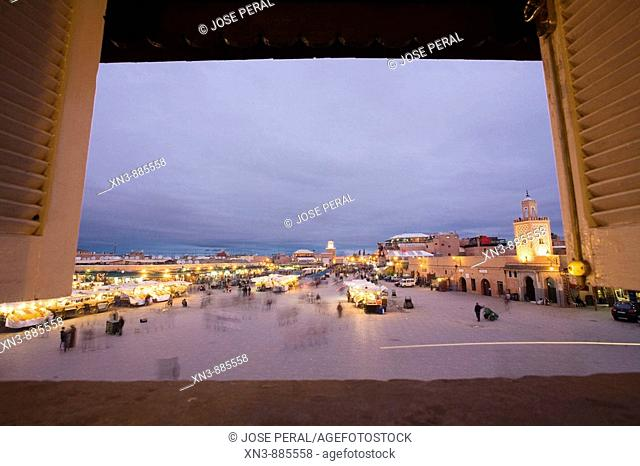 Djemaa el Fna Square view from the BCM Hotel. Marrakech. Morocco