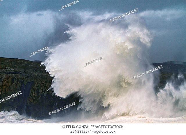 Waves broken at Pria Cliffs and Geysers Llanes, Asturias, Spain