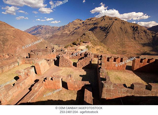People at the Inca terraces of the ancient Inca settlement, Pisac Ruins , Cusco Region, Peru, South America