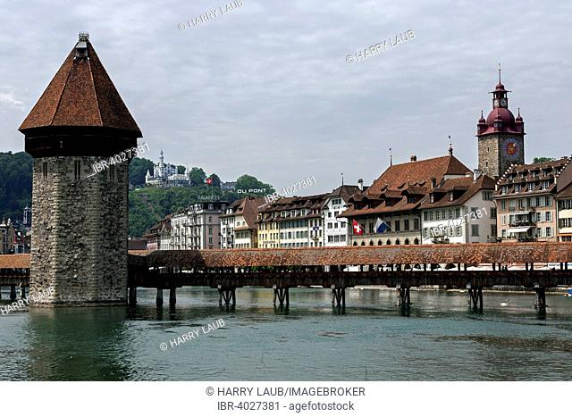 Water tower with Chapel Bridge, behind Rathausquai and Château Gütsch, Lucerne, Lake Lucerne, Canton of Lucerne, Switzerland