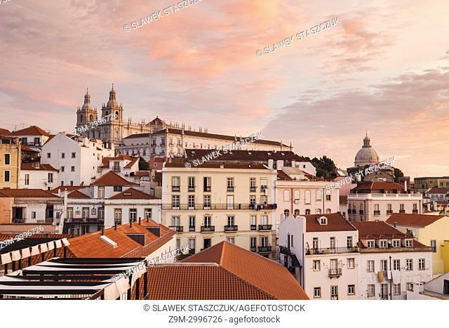 Sunrise in Alfama district of Lisbon, Portugal