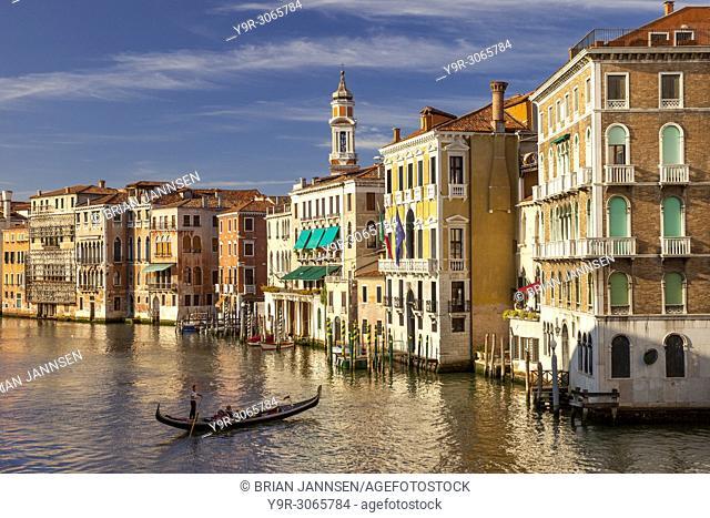 Setting sunlight on the buildings along the Grand Canal, Venice, Italy