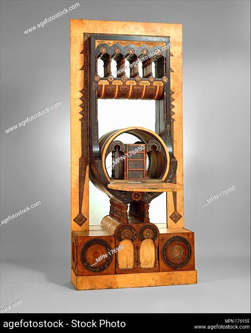 Secretary. Artist: Carlo Bugatti (Italian, Milan 1855-1940 Molsheim); Date: ca. 1895; Medium: Walnut, tin, copper, vellum, and mirror glass; Dimensions: H