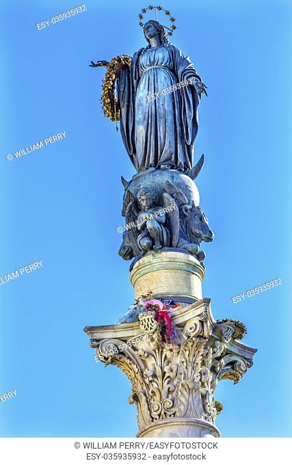 Virgin Mary Statue Immaculate Conception Column Colonna dell Immocolata Rome Italy. 1854 Pope declares Virgin Mary without sin