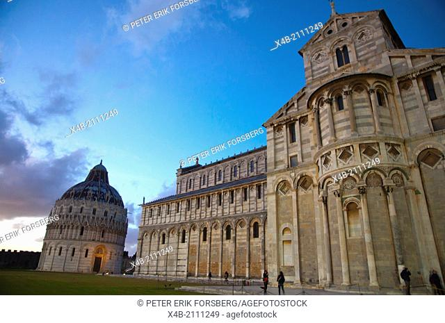 Cathedral and Baptistry at Campo dei Miracoli the field of miracles Pisa city Tuscany region Italy Europe