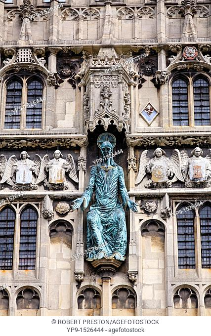 The bronze figure of Jesus Christ at the Cathedral Gate of Canterbury Cathedral, Kent, England