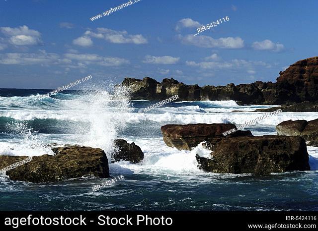 Waves, El Golfo, Lanzarote, Canary Islands, Spain, Los Hervideros IWaves, Canary Islands, Los Hervideros, Spain, Europe
