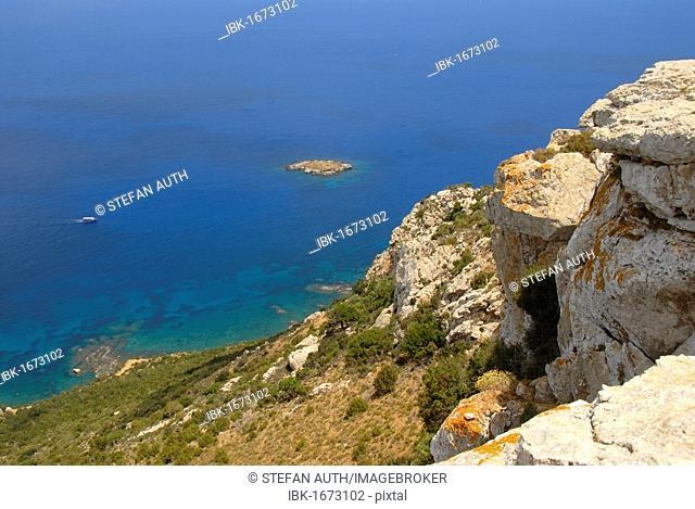Coast, cliffs, rocks, blue sea, view from Mount Moutti tis Sotiras, Baths of Aphrodite, Akamas, Southern Cyprus, Republic of Cyprus, Mediterranean Sea, Europe