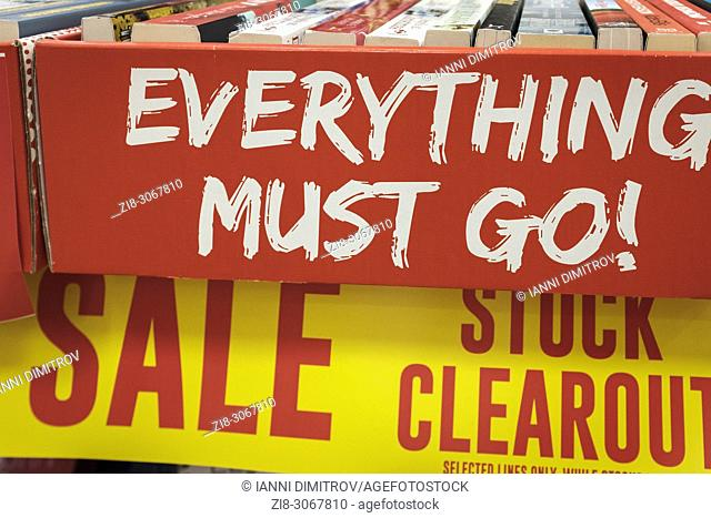 Retail-High Street Shop closure- stock clearout. Closing Down Sale-everything must go. London,UK