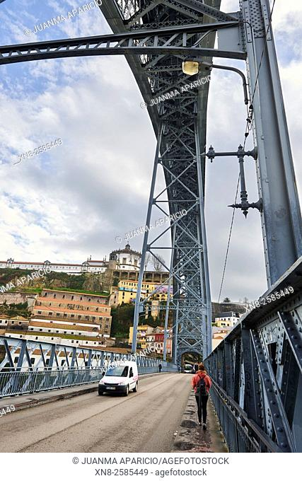Detail of the Bridge Luis I over Douro River, Porto, Portugal, Europe