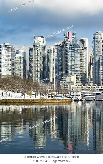 Vancouver skyline from the south shore of False Creek, Vancouver, BC, Canada