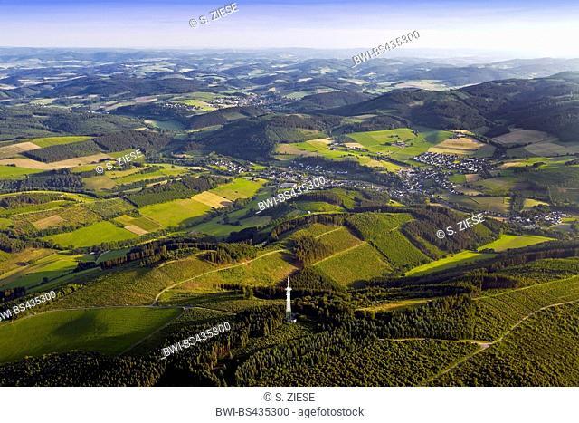 aerial view of hilly low mountain scenery near Eslohe, Germany, North Rhine-Westphalia, Sauerland, Eslohe