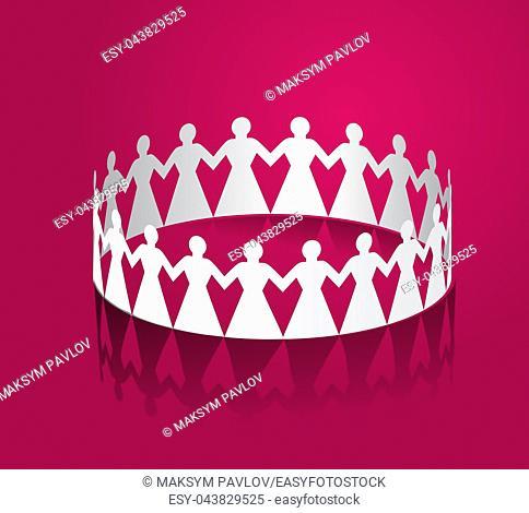 Paper women holding hands