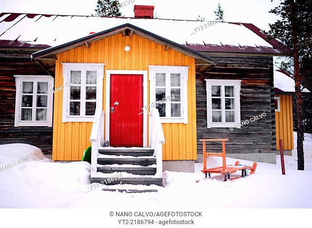 Traditional Finnish cottage at Kakslauttanen Arctic Resort