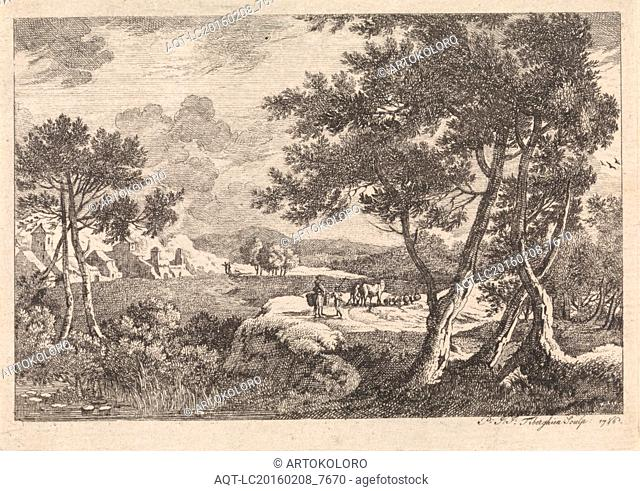 Landscape with trees in the foreground, print maker: Pierre Joseph Jacques Tiberghien, 1786