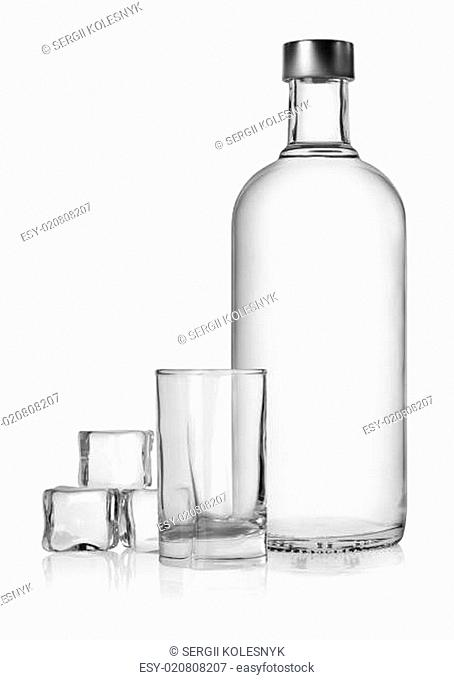 Bottle of vodka and ice cube