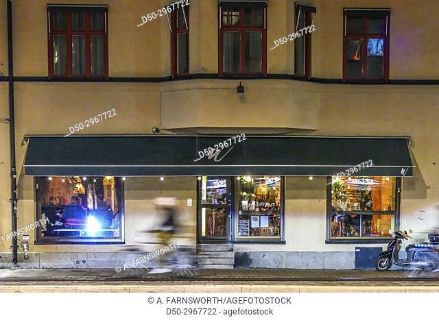 Indonesian restaurant Warung at Hornstull. Street photography. Night photography. Stockholm, Sweden